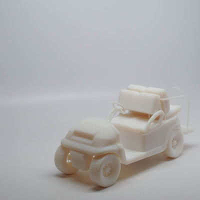 3d printing gallery image of a golf cart 3d printed in polyjet resin