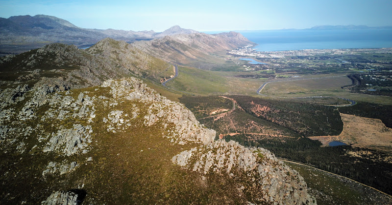 Drone shot towards Steenbras and Gordon's Bay