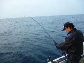 Photo: 佐賀のイノウエさん!強烈に引いてましたが・・・竿先が「ポヨーン」ってなりました。 バレました。