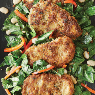 Panko & Sage-Crusted Chicken Breasts with Hot Greens & Beans