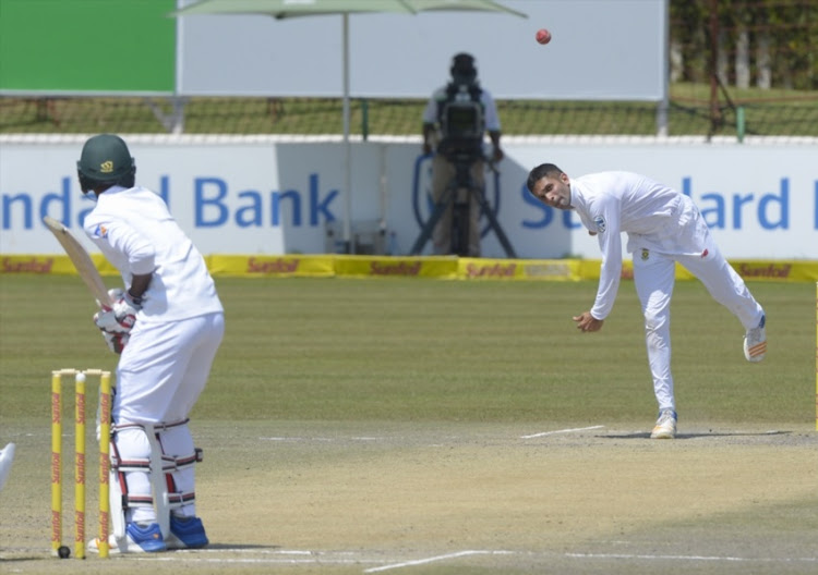 Keshav Maharaj of South Africa during day 5 of the 1st Sunfoil Test match between South Africa and Bangladesh at Senwes Park on October 02, 2017 in Potchefstroom.