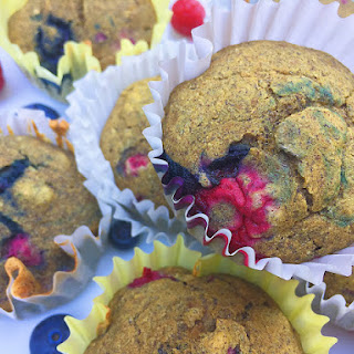 "Triple Berry ""Whole Grain"" Gluten Free Muffins (Vegan, Oil Free, Refined Sugar Free)."