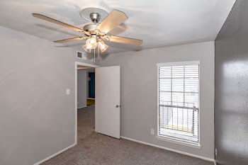 Bedroom with light carpet, dark gray accent wall, and ceiling fan