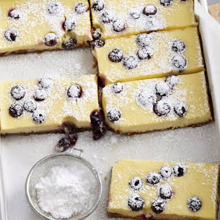 Sour Cream and Blueberry Cheesecake Bars.
