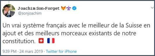 Tweet JSF Un vrai système français avec le meilleur de la Suisse en ajout