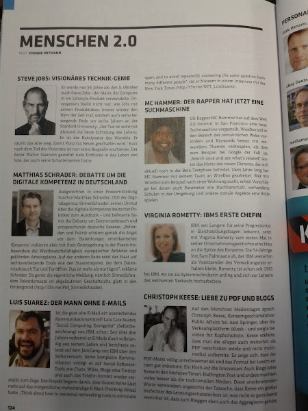 Photo: Luis Suarez (lower right corner) being mentioned in a German IT magazine next to other big names of the Information Technology industry.