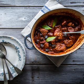 Slow Braised Pork with Chorizo, Thyme & Black Olives