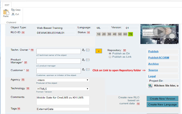LCMS Repository Relink