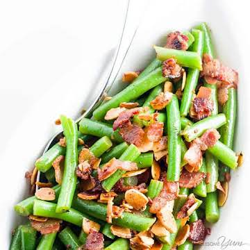 Pan Fried Green Beans Almondine Recipe with Bacon and Garlic