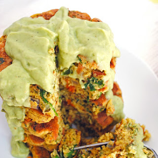 Fluffy Chickpea Pancakes with Vegetables + Avocado Sauce (vegan + gluten-free).