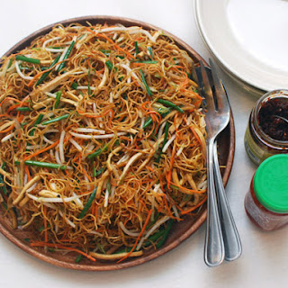 Stir-Fried Chow Mein With Four Vegetables.
