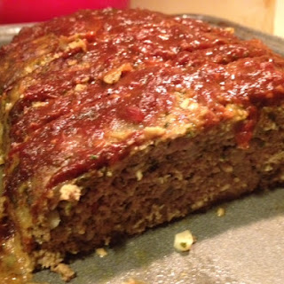 Turkey Pesto Meatloaf with Balsamic Tomato Sauce.
