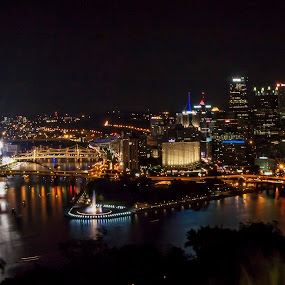 Pittsburgh at night by James Wayne - City,  Street & Park  Night ( skyline, night photography, pittsburgh, night scene, night shot, nightscape )