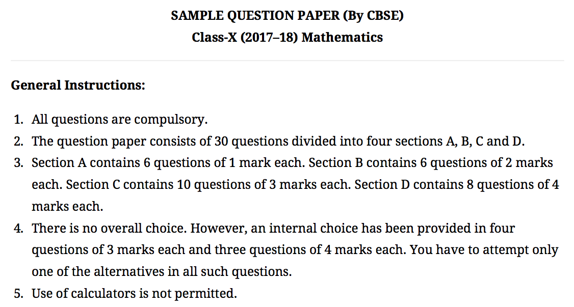 Omtex sample question paper by cbse class x 201718 mathematics sample question paper by cbse class x 201718 mathematics malvernweather Images