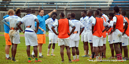 Photo: Coach McKinstry working with the Leone Stars  [Training Camp ahead of Leone Stars v Seychelles Game in Freetown on 19 July 2014 (Pic: Darren McKinstry)]