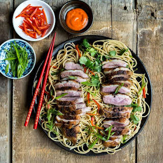 Ginger Scallion Noodles with Pan-Seared Duck Breast.