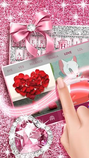 Pink Bow Diamond Luxury Keyboard Theme 1.0 4