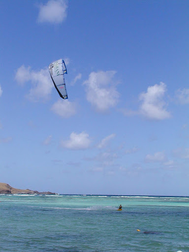 Kitesurfing at St. Jean Beach (Baie de Saint Jean) on St. Barts.
