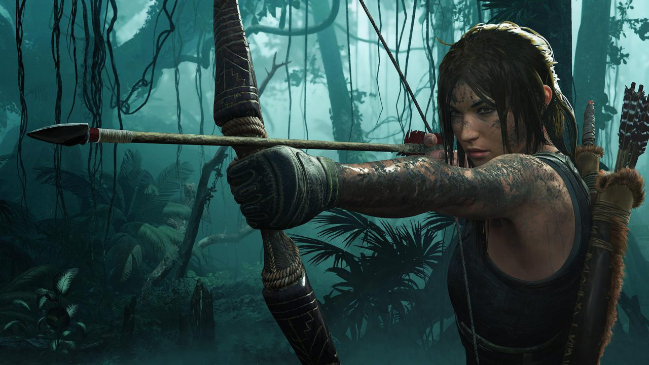 Lara Croft draws her bow and arrow.