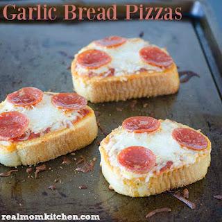 Garlic Bread Pizzas.