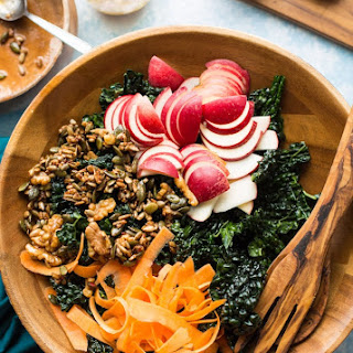 Kale Apple Salad with Maple Toasted Nut + Seed Clusters Recipe