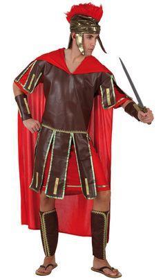 Déguisement centurion homme : Ce déguisement de Centurion homme se compose d'une tunique imitation cuir sur laquelle est cousue une cape romaine rouge, d'un casque couleur or muni d'une crête rouge sur le...