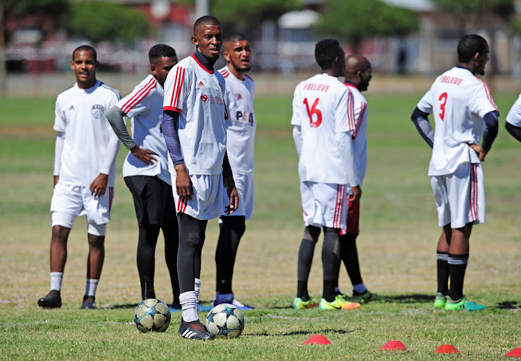 The Magic FC captain Thando Mngomeni and teammates at a training session and Nedbank Cup media day at Royal Road Fields in Cape Town ahead of their last 16 crunch encounter against Soweto giants Kaizer Chiefs.