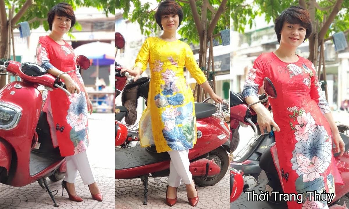 Áo dài cách tân vải gấm hoa sen màu vàng đỏ thời trang thủy hải phòng