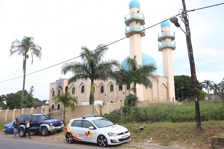 The Hawks outside the Mosque in Verulam that was the scene of a brutal attack. Picture: JACKIE CLAUSEN