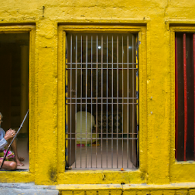 Waiting  by Sandip Ghose - People Portraits of Men ( sandip photography, benaras, yellow, d3100, frame )