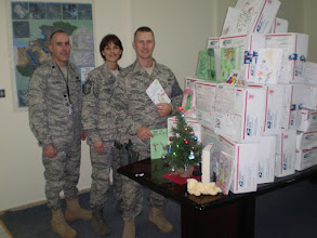 Photo: Lt. Col. Aldride, Chief Master Sgt. Ksicinski and Tech. Sgt. Tucker of the Minnesota National Guard's Duluth-based 148th Fighter Wing, currently serving in Afghanistan, received dozens of gift boxes donated by Minnesota school children and other supporters this December.