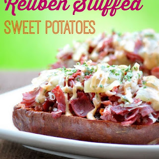 Reuben Stuffed Sweet Potatoes with Russian Dressing