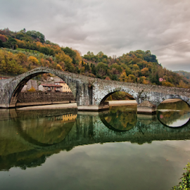 Ponte del diavolo (Borgo a Mozzano, Lucca, Italy) by Gianluca Presto - Buildings & Architecture Bridges & Suspended Structures ( water, reflection, water reflection, tuscany, arch, stone, architectural detail, circle, architecture, historic, circles, ancient, sky, nature, legend, arches, cloudy, historical, bridge, italy, river,  )