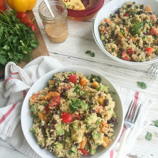 Southwestern Avocado Quinoa Salad with Chipotle Hummus Dressing