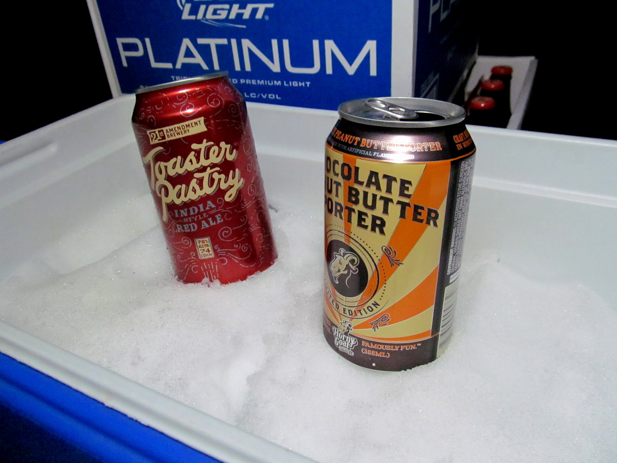 Photo: Tasty beverages chilling in snow I brought from home