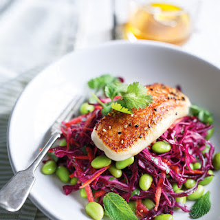Cabbage, Edamame and Grilled Halloumi Salad Recipe