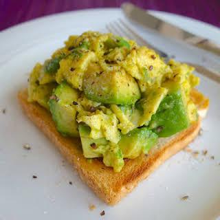 Open Face Scrambled Eggs & Avocado Toast.