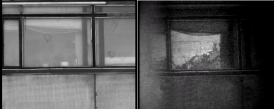 Photo: Слева: окна здания напротив освещены солнцем. Стекла окон грязные, бликуют на солнце. За стеклами практически ничто не просматривается ни визуально, ни с помощью ТВК.  Справа: те же окна, но наблюдаемые с помощью прибора «Призрак-М». За стеклами видна часть помещения. На подоконнике – комнатные цветы, сверху и справа шторы.