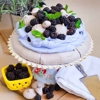 Lavender Blackberry Chocolate Pavlova.