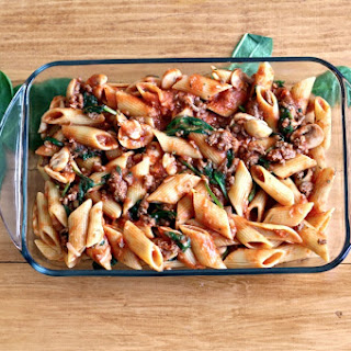 Ground Beef And Spinach Pasta Bake.