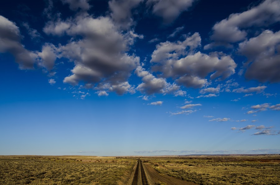 Riders on the Storm by Brian Reeves - Travel Locations Landmarks ( painted desert az train clouds hdr road rr distance sky contrast dark storm riders )