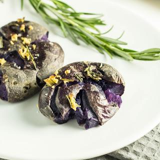 Garlic Rosemary Smashed Purple Potatoes