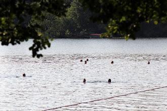 Photo: Schwimmer suchen das erfrischende Bad im Großensee