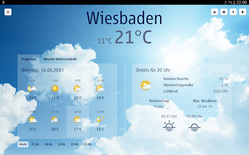 wetter.net (tablet app) – Miniaturansicht des Screenshots