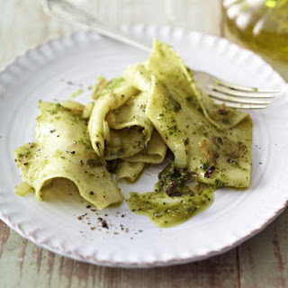 Homemade Pappardelle Pasta with Pesto