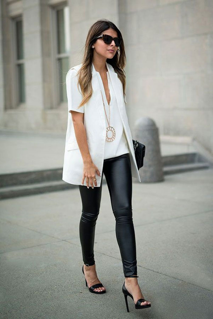 Black leggings are a very safe bet if you want to try wearing leggings to the office