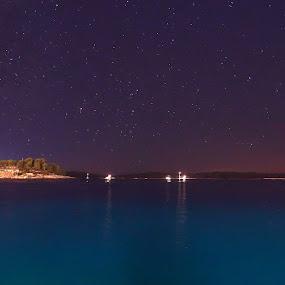 Islands at night by Jaksa Kuzmicic - Landscapes Waterscapes ( croatia, sea, islands, sail, hvar )