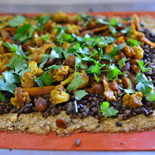 Cauliflower Crust Pizza with Black Mung Bean Curry