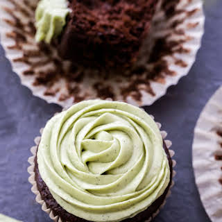 Chocolate Cupcakes with Matcha Vanilla Cream Cheese Frosting.