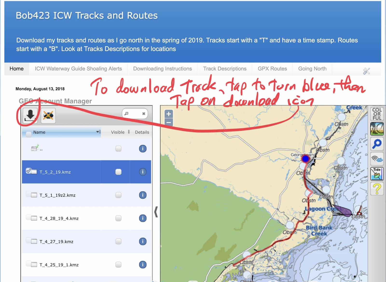 Bob423 ICW Tracks and Routes: How to Download Tracks on creek map, ip map, waterway in va map, sir walter raleigh route map, ice map, arc map, io map, cdc map, oak island north carolina beaches map, safeco map, iso map, aps map, microsoft map, icn map, icc map, axis map, travelers map, north carolina inland waterway map, marina map,